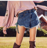 Empire Waist Straight Denim Shorts with Rough Edges