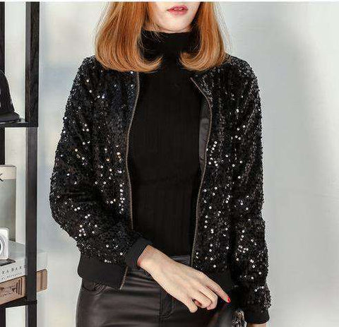 Black Sequin Full Sleeve Mandarian Collar Jacket