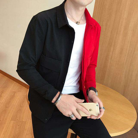 Black Red Designer Slim Fit  Jacket