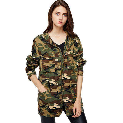 Cotton Long Sleeve Stand Collar Loose Camouflage Zipper Bomber Jacket