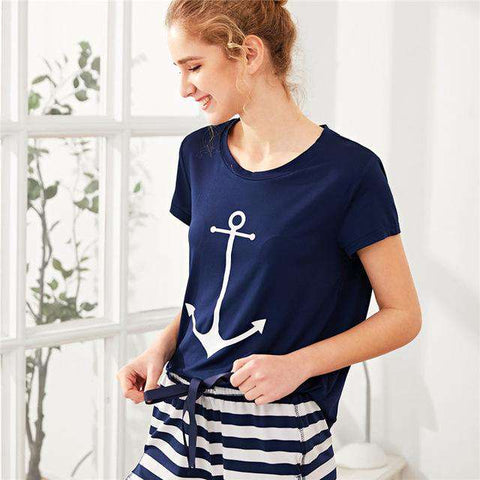 Anchor Print Tee And Striped Shorts Round Neck Casual Short Sleeve Pajama Sleepwear Set