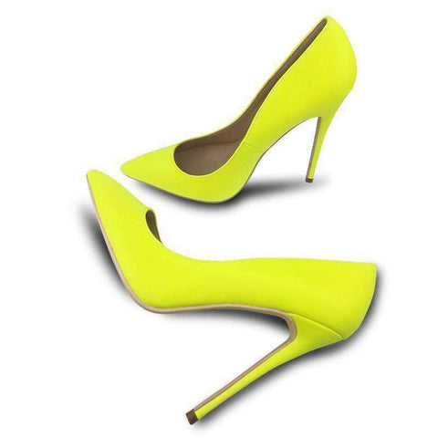 Yellow Matte High Heels Pointed Toe Shoes Sandals