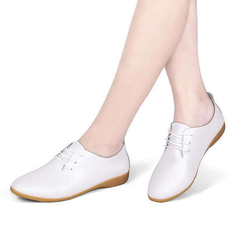Genuine Leather Lace Up Oxford White Flat Shoes
