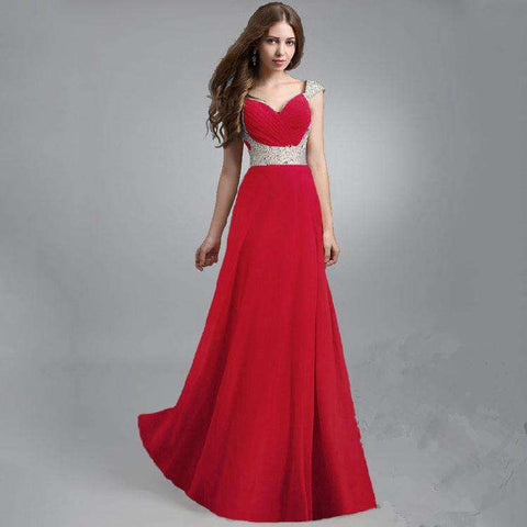 Sexy RED Sleeveless Sequin Long Gown Dress
