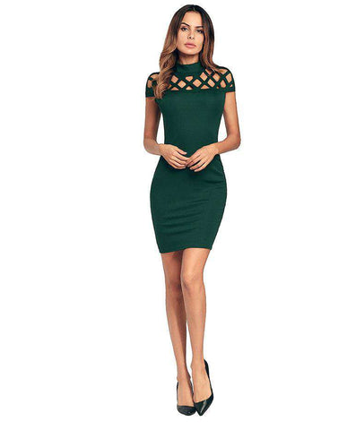Turtleneck Hollow Out Net Shape Sexy High Neck Short Dress