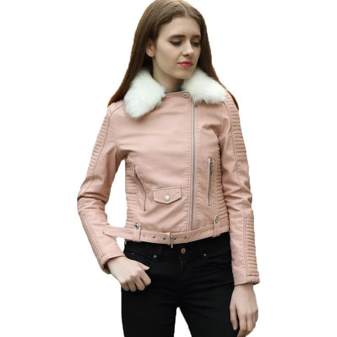 Pu Leather Warm Large Fur Collar Faux Soft Motorcycle Pu Jacket Short