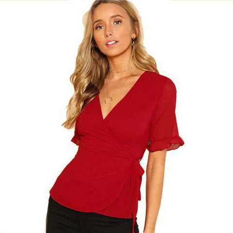 Red V-Neck Wrap Belted Slim Fit Short Sleeve Top