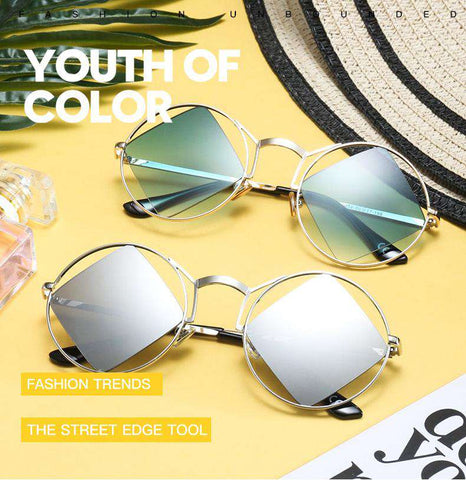 Round Metal Frame inlaid Square Lens Sunglasses