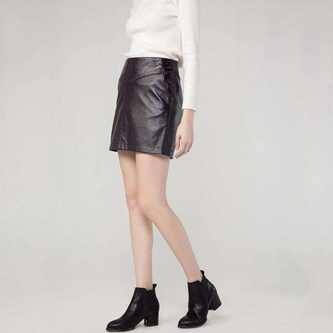 Stretch PU Leather Black Silver-plated Back Zipper Mini Pocket Skirt