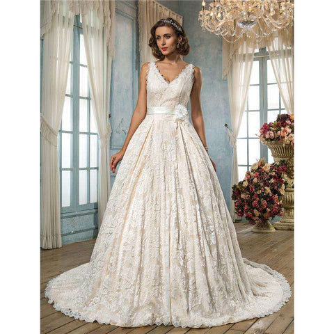 A-Line  V-neck Chapel Train Lace Bridal Gown with Sash / Ribbon Flower