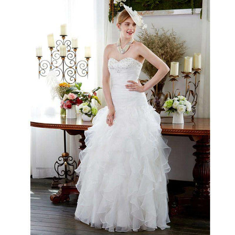A-Line Sweetheart Floor Length Organza Bridal Gown with Beading Ruche