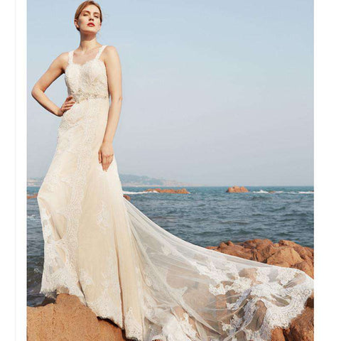 A-Line Sleeveless Sweep Brush Train Lace Bridal Gown with Beading Draped