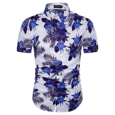 Hawaiian Coconut Tree Floral Print Short Sleeve Cotton Shirt
