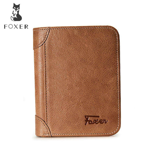 FOXER Genuine Leather Bifold Short Simple Wallets