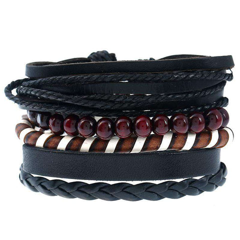 4pcs/set Black Multilayer Leather Handmade Bracelet