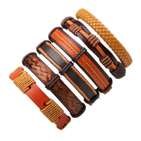 6pcs/set Yellow Weaving Leather Wrap Bracelets