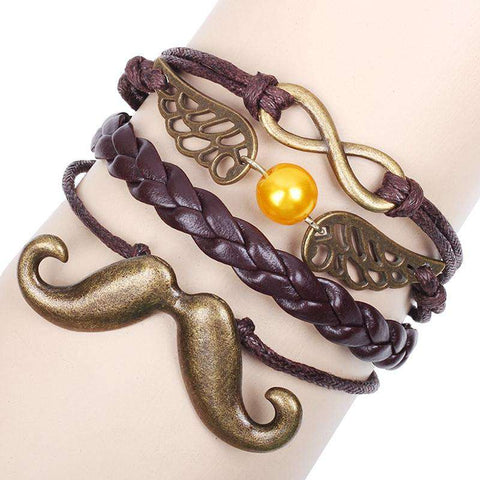Brown Leather Moustache Infinity Beads Charm Bohemia Wrap Bracelet