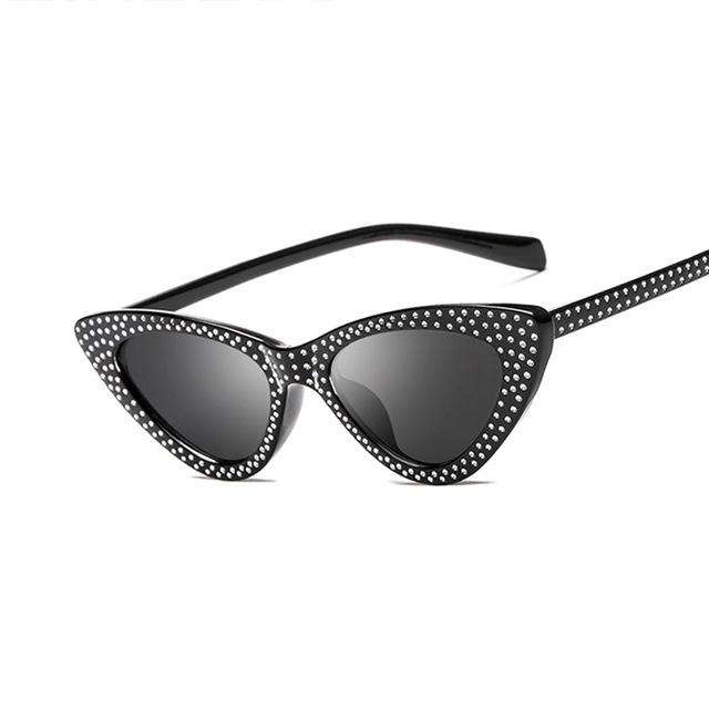 9c8d02cd7d1 Cat Eye Trendy Diamond-Studded Border Design Triangle Frame Fashion  Sunglasses