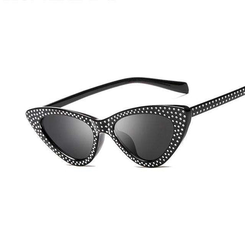 Cat Eye Trendy Diamond-Studded Border Design Triangle Frame Fashion Sunglasses