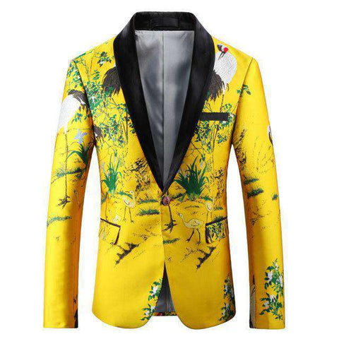 Yellow Luxury Slim Fit Floral Stylish Party Blazer