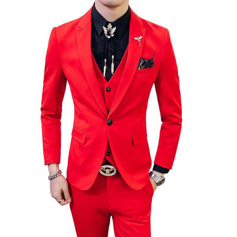 Slim Masculino 3 Piece Party Suit