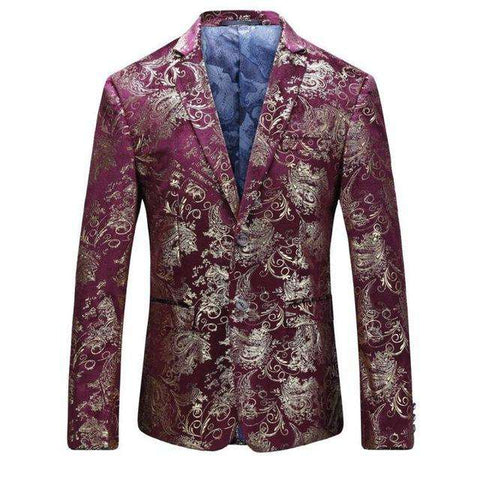 Gold Print Slim Fit Blue Wine With Gold Print Blazer