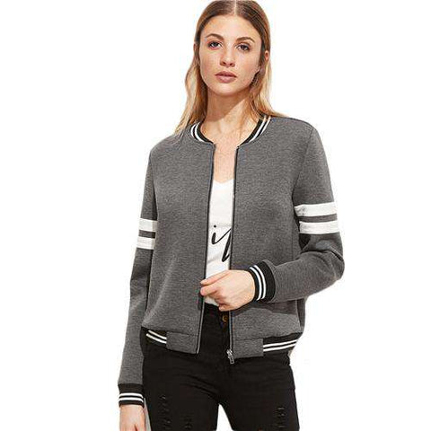Grey Striped Trim Zipper Up Bomber Stand Collar baseball Street Style Jacket
