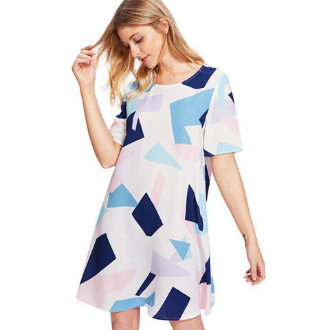 Allover Geometric Print Round Neck Short Sleeve Straight Dress
