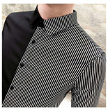 Striped Long Sleeve Slim Fit Tuxedo Shirt