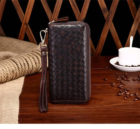 Luxury Genuine Leather Knitted Bag Wallet
