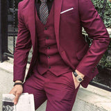 Burgundy Notched Lapel Three Piece Tuxedos (Jacket + Pants + Vest)