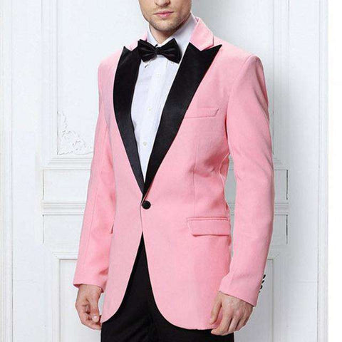 Black and Pink Peaked Lapel One Button Straight Two Piece Suits (Jacket +Pants)