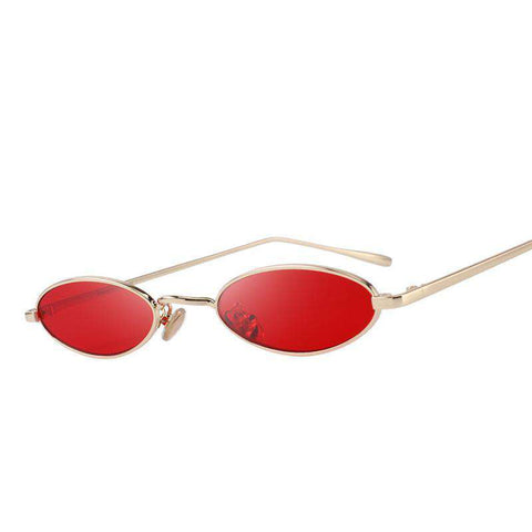 Small Oval Red Lens UV400 Protection Sunglasses