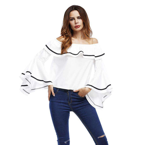 Slash Neck Flare Sleeve Ruffles Loose Sexy Off Shoulder Top