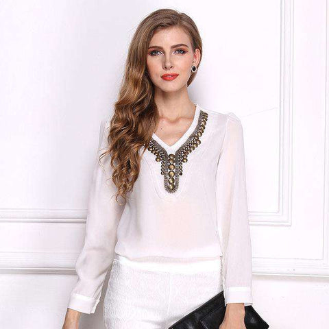 Beading V-neck Long Puff Sleeve Chiffon Top
