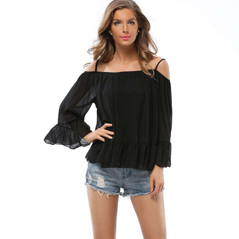 Chiffon Ruched Off Shoulder Slash Neck Flare Sleeve Sexy Backless Tops