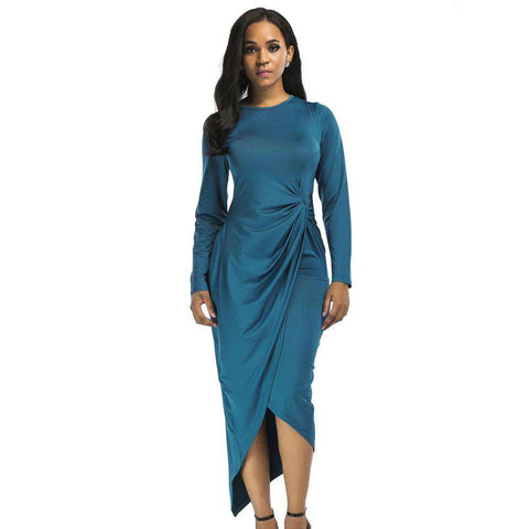 Long Sleeve High Low Knee Length Split Draped Waist Dress