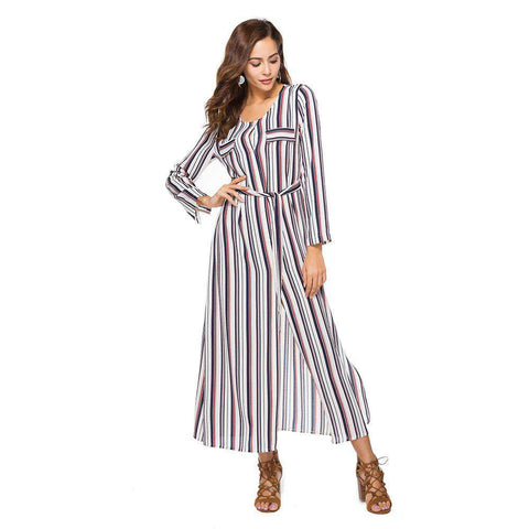 Chiffon Striped Long Sleeve Split OL Round Neck Elegant Dress