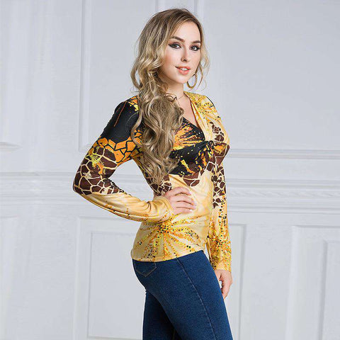 Leopard Print Long Sleeve V Neck Top
