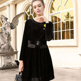 Black O-Neck Bohemian Robe Nacre Collar Above Knee Mini Dress