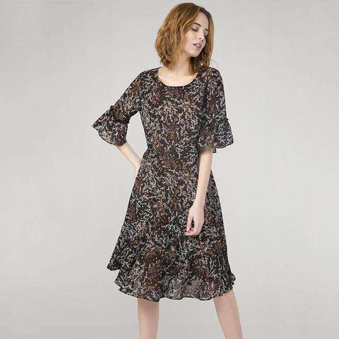 Bohemian Style Print O-Neck Butterfly Half Sleeve Loose Flounce Dress