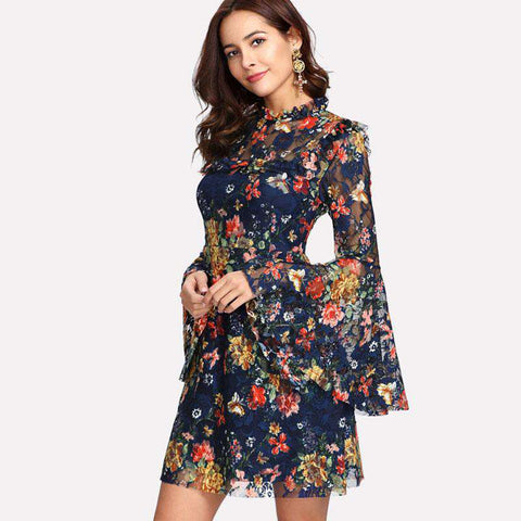 Flower Print Swing A Line Long Sleeve Multicolour Floral Calico Print Keyhole Back Dress