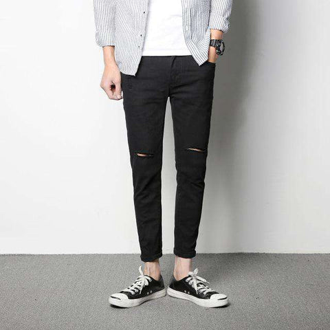 Knee Hole Ripped High Stretch Slim Elastic Pencil Scratch Black White Skinny Jeans