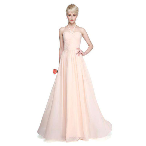 A-Line Halter Backless Floor Length Chiffon Gown with Side Draping Ruching