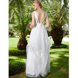 A-Line Backless V-neck Sleeveless Floor Length Organza Bridal Gown with Bow Sashes Ribbons