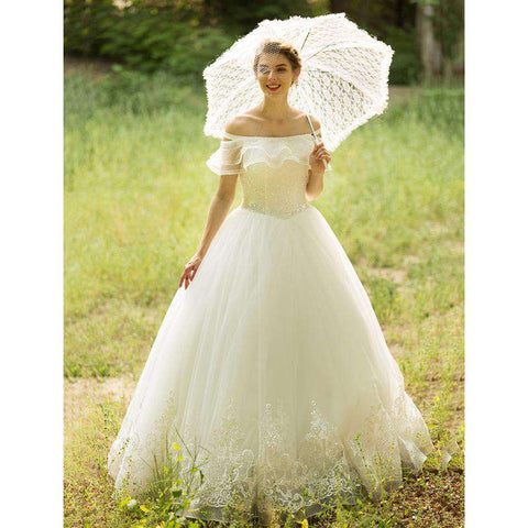 Off shoulder Floor Length Tulle Bridal Gown with Beading Sequin Appliques