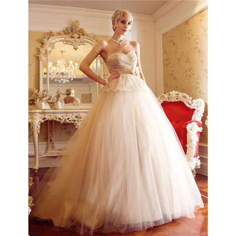A-Line Princess Sweetheart Court Train Tulle Bridal Gown with Sash / Ribbon Criss-Cross Flower