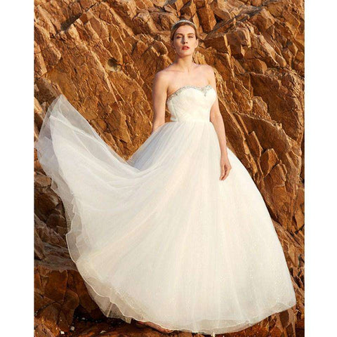 A-Line Princess Strapless Floor Length Tulle with Beading Crystal Detailing Side-Draped