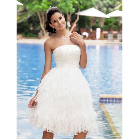 A-Line Backless Strapless Sleeveless Knee Length Organza Satin Bridal Gown with Tiered