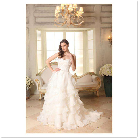 A-line  Backless Sweetheart Sleeveless Court Train Organza Bridal Gown with Beading Appliques